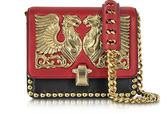 Hera Dark Red and Black Leather Shoulder Bag w/Jewel Plate and Studs - Roberto Cavalli
