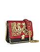 Hera Dark Red and Black Leather Shoulder Bag w/Jewel Plate and Studs - Roberto Cavalli / ロベルト カヴァリ