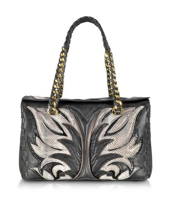 Regina Charcoal Vintage Calf and Fire Patchwork in Ayers Small Satchel