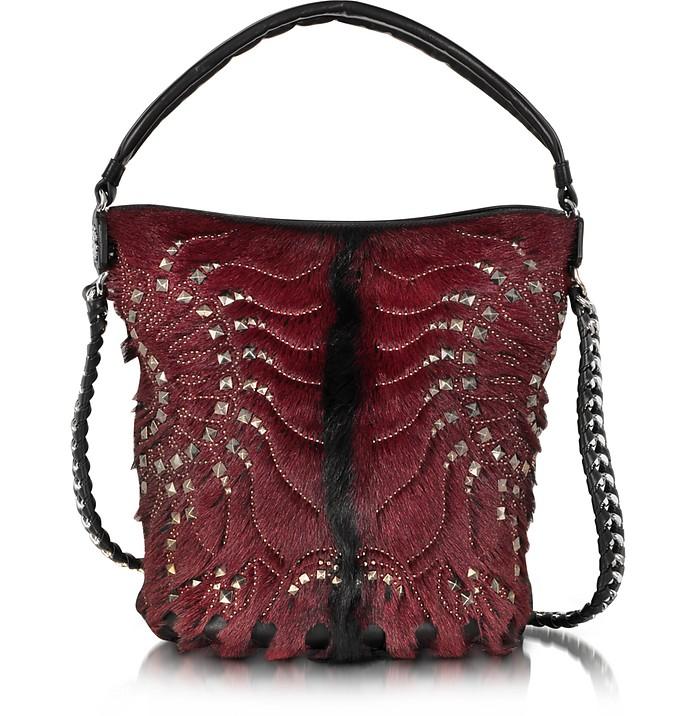 Regina Medium Dark Red and Black Radiant Studded Hobo Bag - Roberto Cavalli