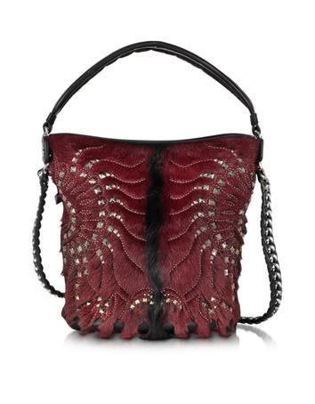 Regina Medium Dark Red and Black Radiant Studded Hobo Bag