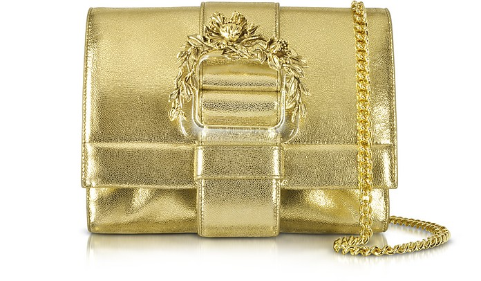 Small Light Gold Metallic Leather Clutch w/Chain Strap - Roberto Cavalli