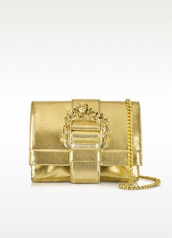 Small Light Gold Metallic Leather Clutch w/Chain Strap - Roberto Cavalli