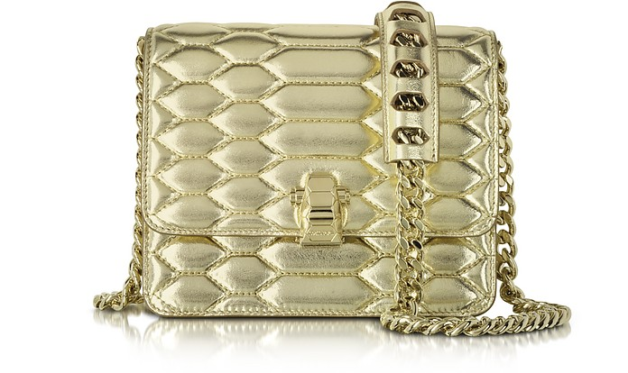 Hera Small Platinum Python Print Quilted & Laminated Leather Shoulder Bag - Roberto Cavalli