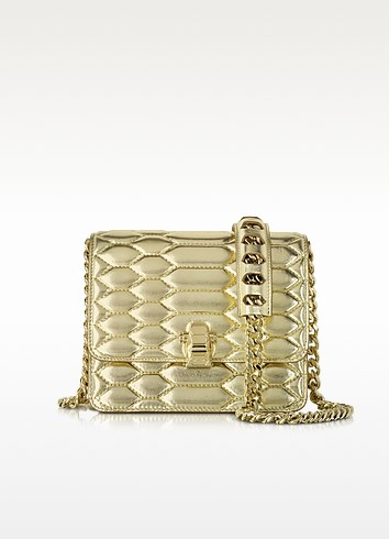 Hera Small Platinum Python Print Quilted & Laminated Leather Shoulder Bag - Roberto Cavalli