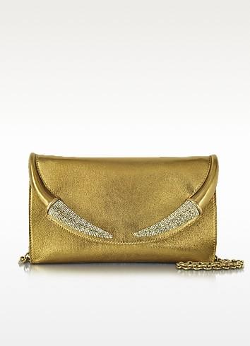 Horn Gold Metallic Nappa Clutch - Roberto Cavalli