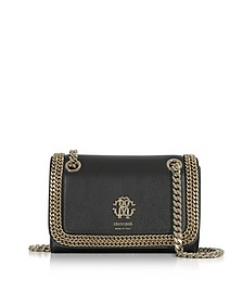 Black Leather Chain Shoulder Bag - Roberto Cavalli