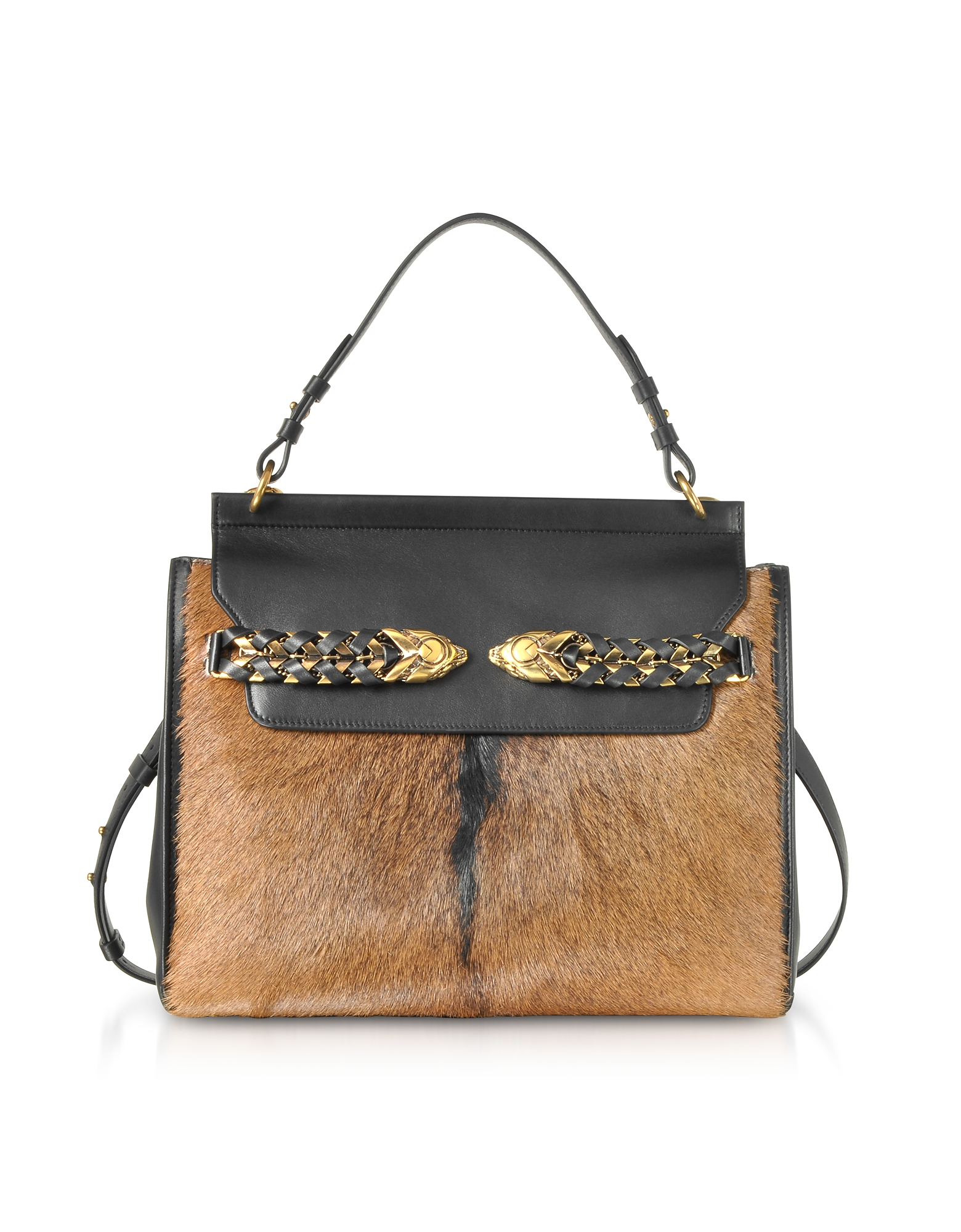 Black Leather and Natural Pony Hair Satchel Bag