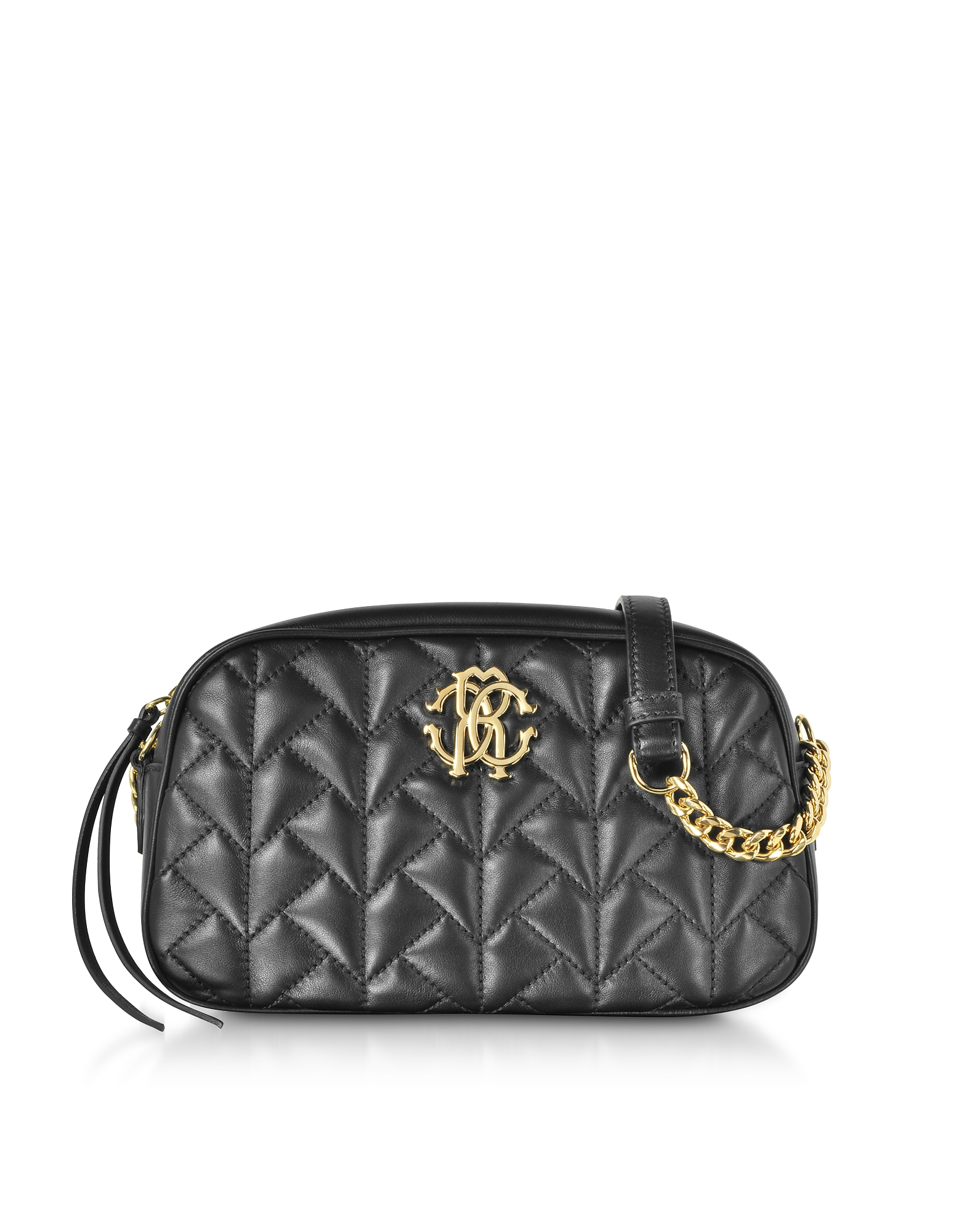 Roberto Cavalli Handbags, Black Quilted Leather Crossbody Bag