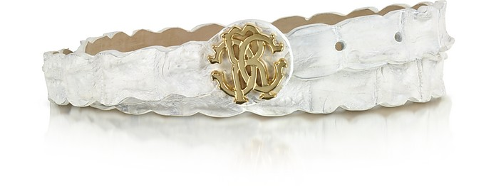 Rc White Croco Leather Belt - Roberto Cavalli