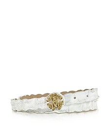 Rc White Croco Leather Belt - Roberto Cavalli