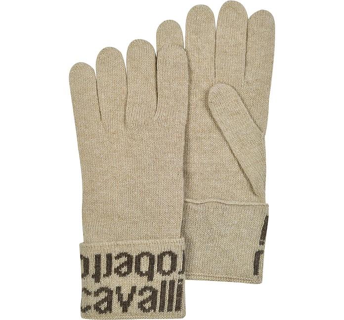 Light Brown Signature Cuff Gloves - Roberto Cavalli
