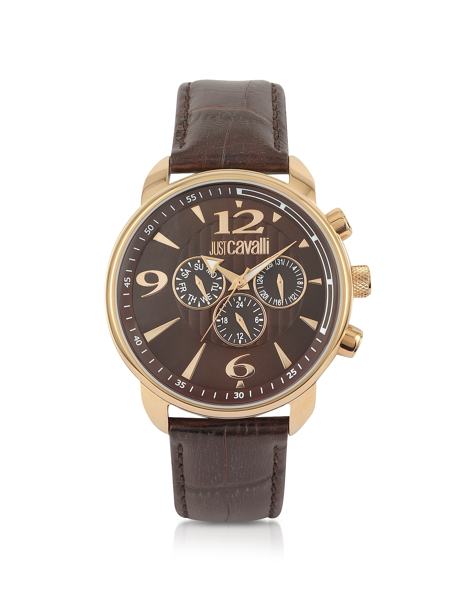 Just Cavalli Men's Watches, Earth - Brown Croco Multifunction Watch