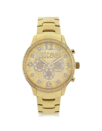 Just Cavalli - Huge JC 3H Gold Dial Stainless Steel Women's Watch