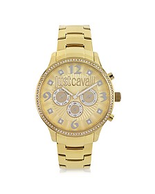 Huge JC 3H Gold Dial Stainless Steel Women's Watch - Just Cavalli