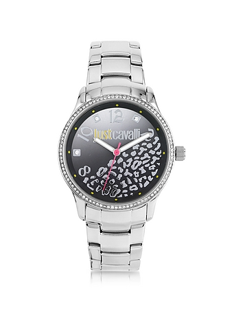 Just Cavalli - Huge JC 3H Black Dial Silver Stainless Steel Women's Watch