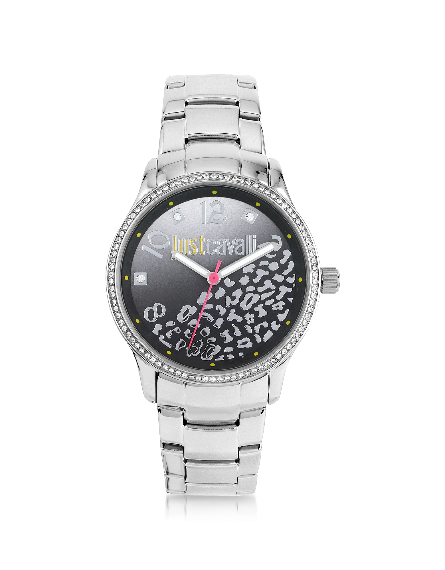 Image of Just Cavalli Designer Women's Watches, Huge JC 3H Black Dial Silver Stainless Steel Women's Watch