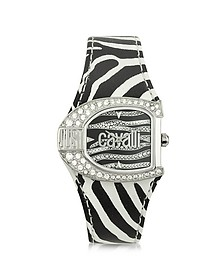 Logo Jc 2H Silver Dial Black Strap Women's Watch - Just Cavalli