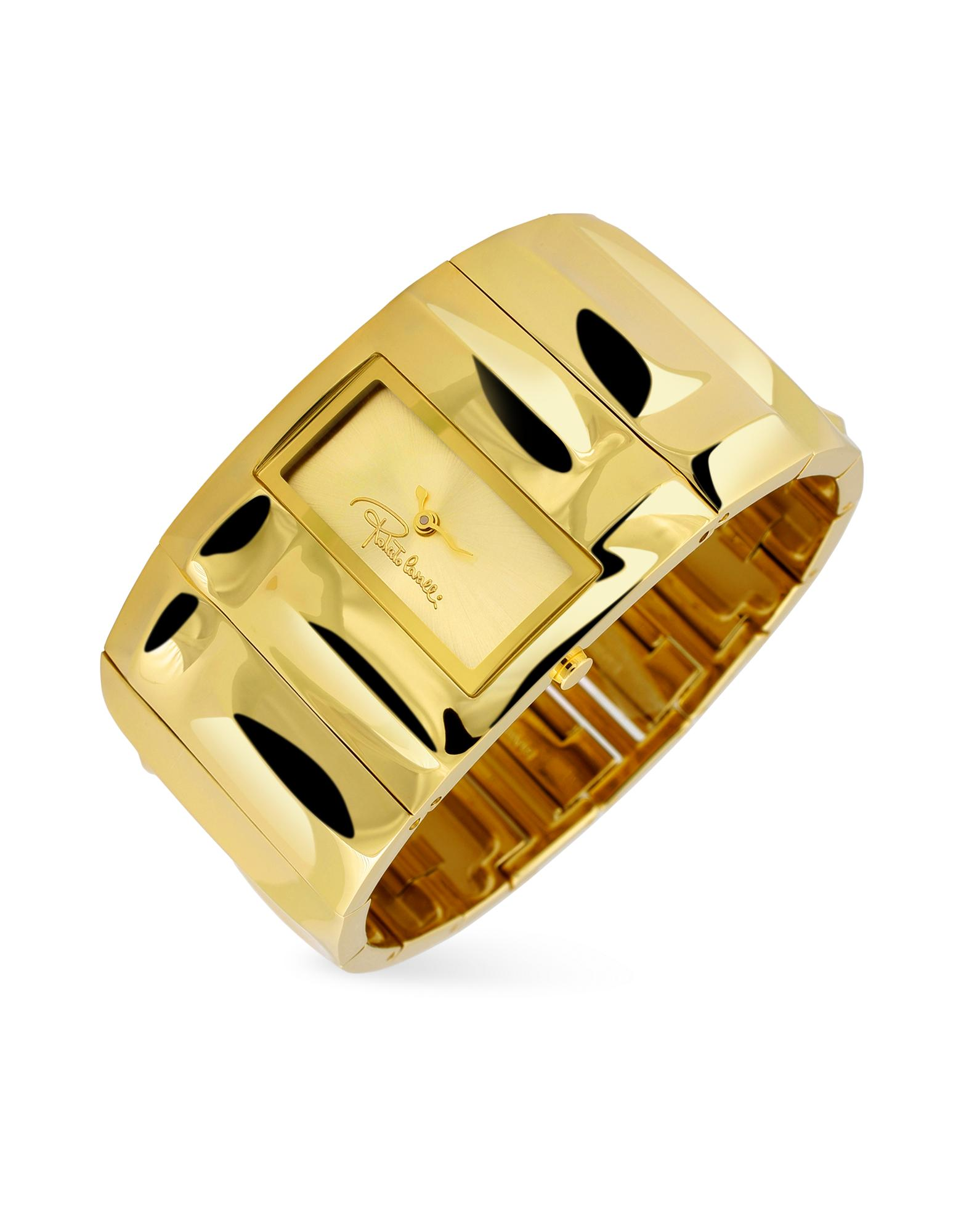 Roberto Cavalli Croco Tail - Gold Plated Cuff Bracelet Watch