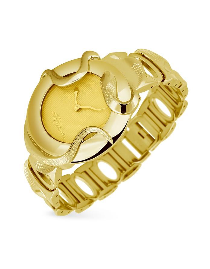 Snake - Gold Plated Round Case Dress Watch - Roberto Cavalli