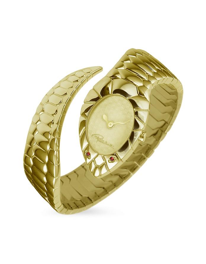 Snake Gold Plated Cuff Bracelet Ladies' Watch - Roberto Cavalli