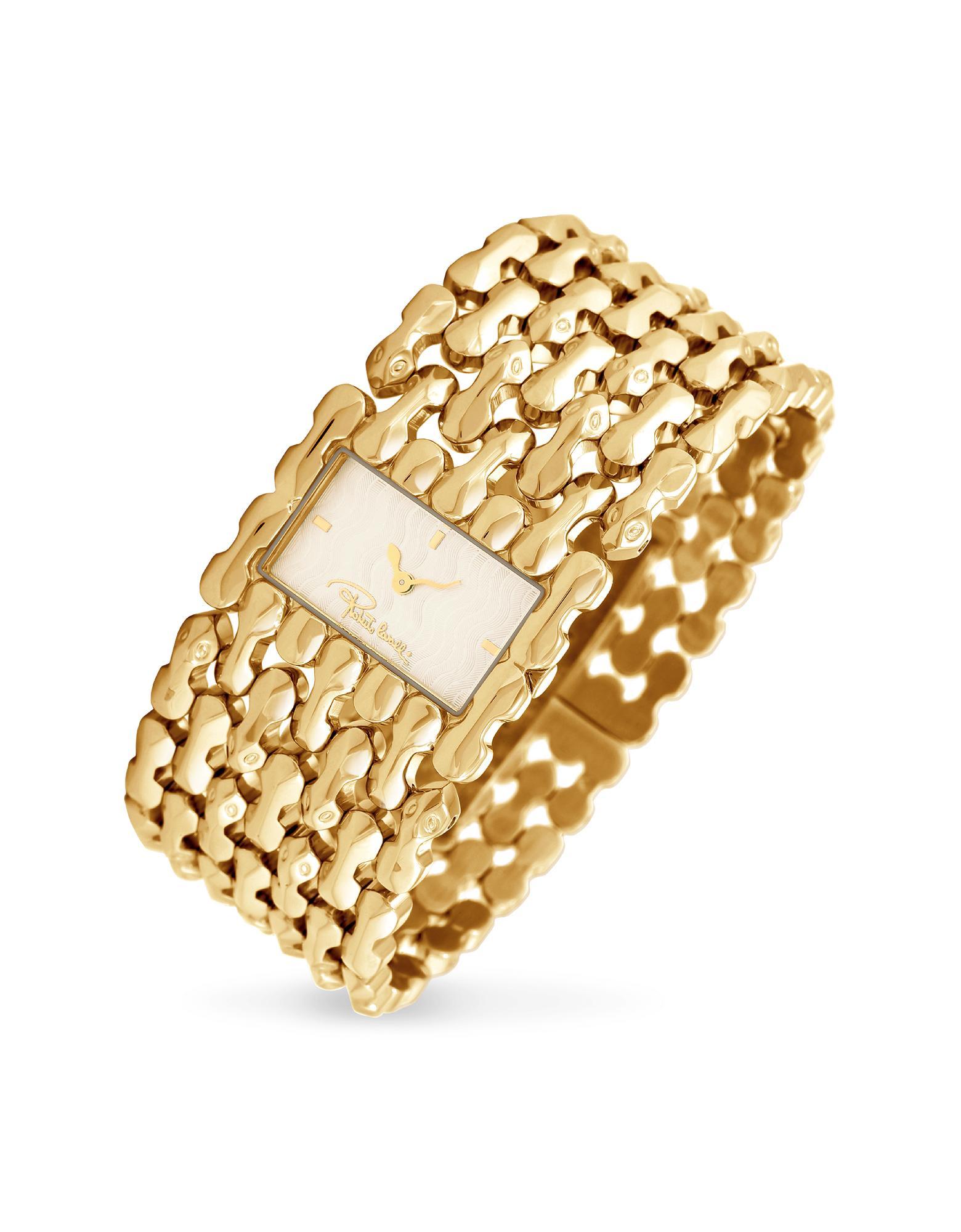 Roberto Cavalli Oryza - Gold Plated Signature Bracelet Dress Watch
