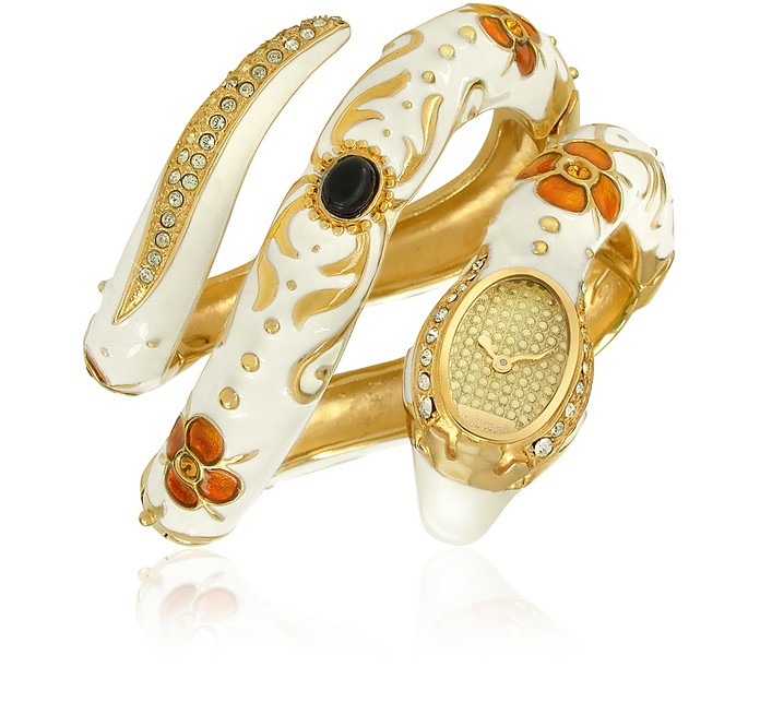 Eva Snake - Enamel and Crystal Snake Coil Watch - Roberto Cavalli