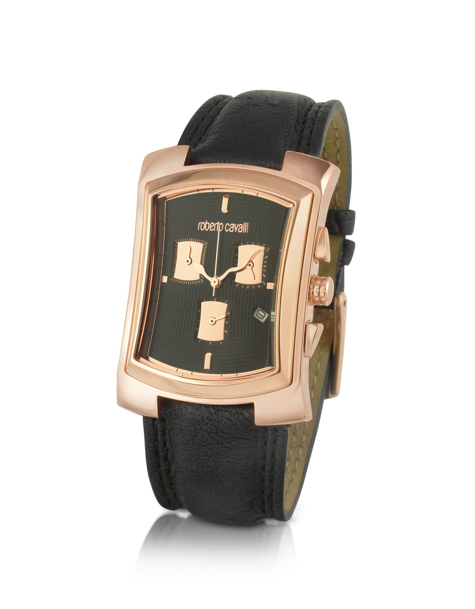 Roberto Cavalli  Tomahawk - Rose Gold Plated and Leather Chronograph Watch