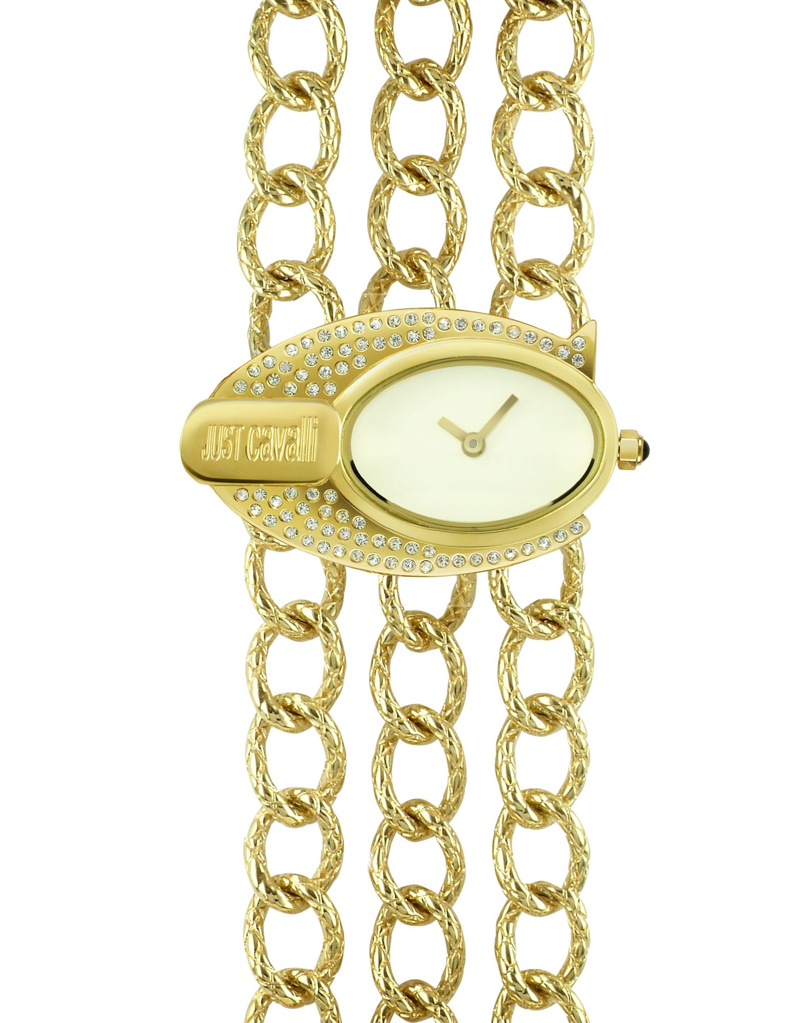 Just Cavalli Triptic - Gold Plated Chain Bracelet Dress Watch
