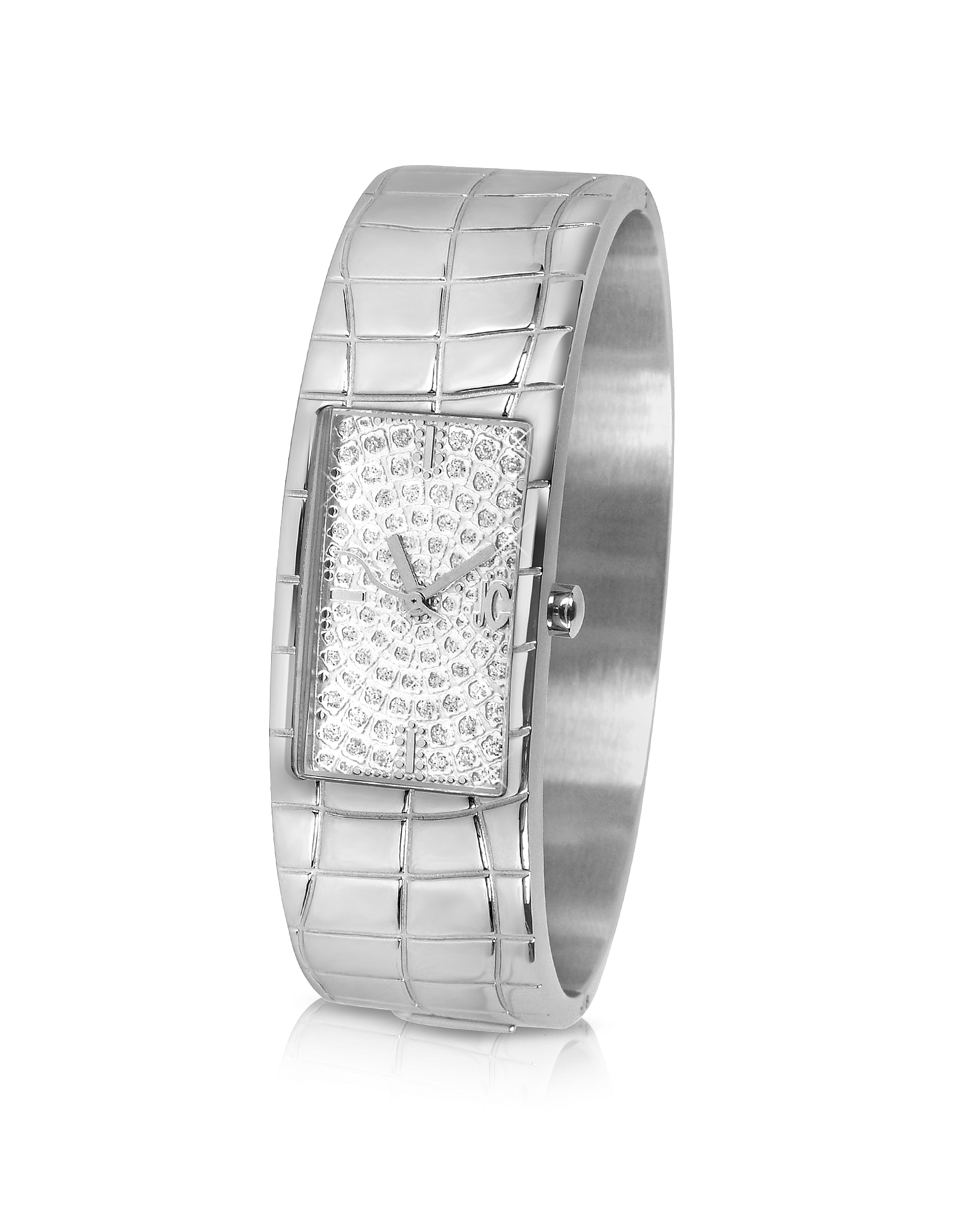 Image of Just Cavalli Designer Women's Watches, Circum - Silvered Dial Stainless Steel Large Cuff Watch