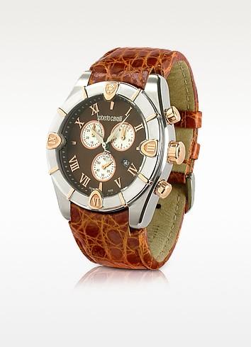 Diamond Time - Men's Brown Croco Strap Chronograph Watch - Roberto Cavalli