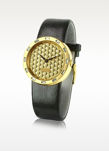 JC Glow - Mirrored Dial Stainless Steel and Leather Watch - Just Cavalli