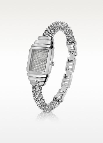 JC Eshmay - Pave Dial Silver Mesh Bracelet Watch - Just Cavalli