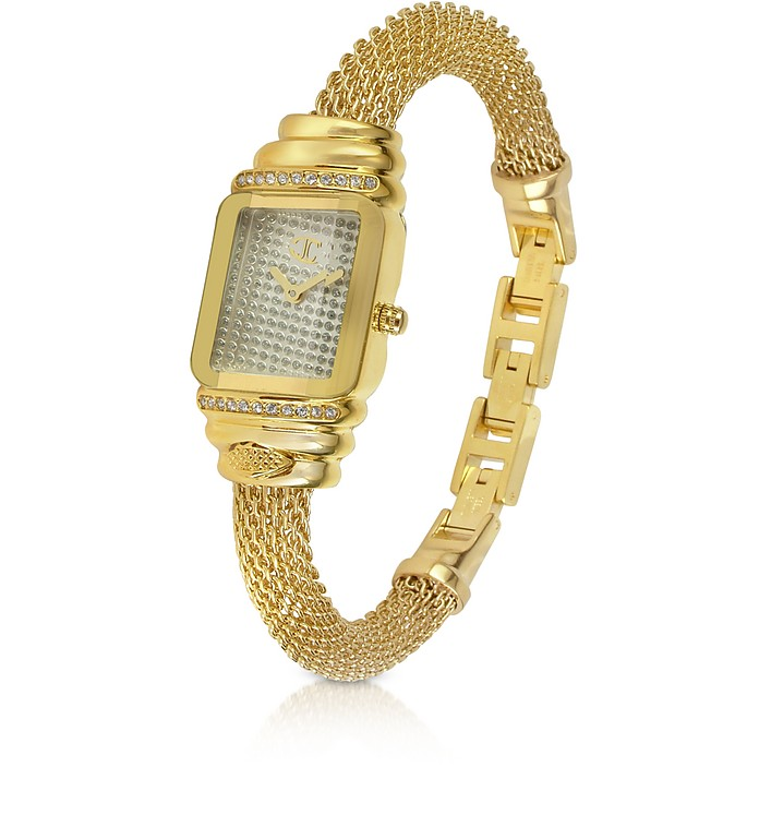 JC Eshmay - Pave Dial Gold Mesh Bracelet Watch - Just Cavalli