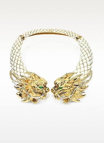 Enamel and Brass Dragon Necklace - Roberto Cavalli