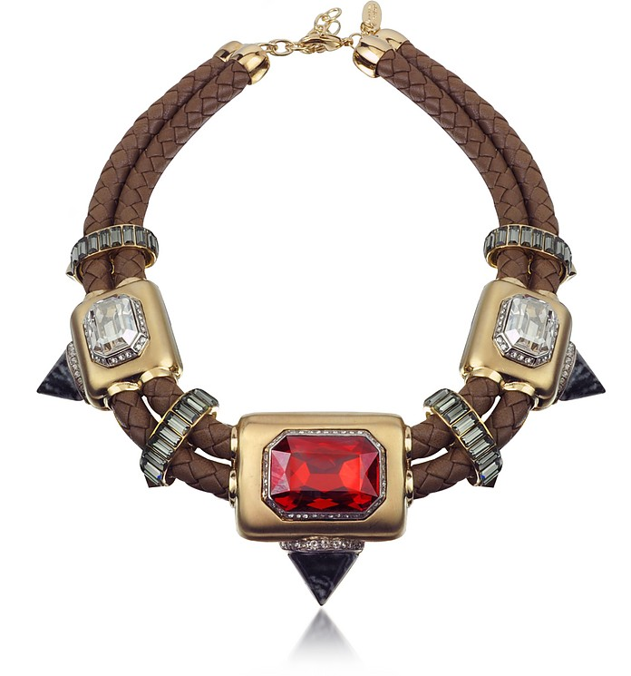 Africa Stone and Woven Leather Chocker - Roberto Cavalli