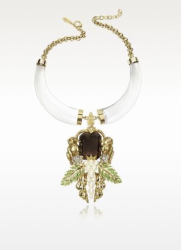 Bronze and Plexiglass Monkey Necklace - Roberto Cavalli