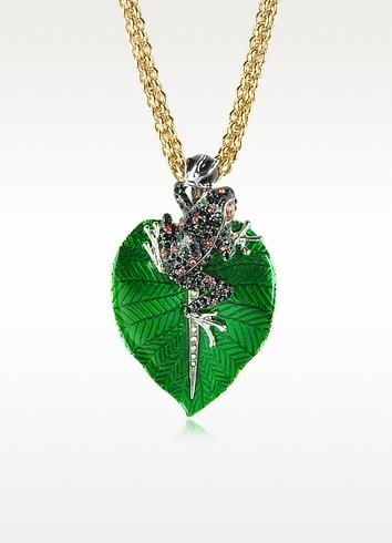 Animal Kingdom Black & Red Crystals and Golden Metal Frog Pendant Necklace - Roberto Cavalli