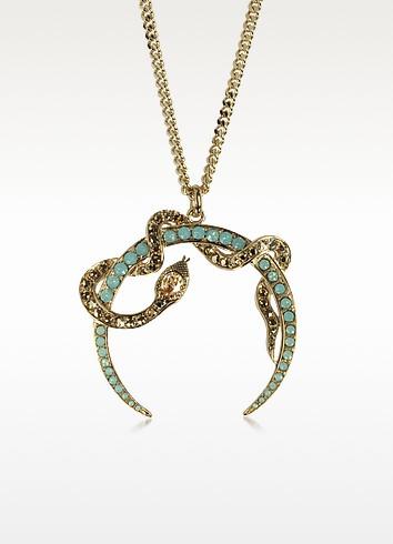 Serpent Luxe Golden Pendant Necklace w/Crystals - Roberto Cavalli