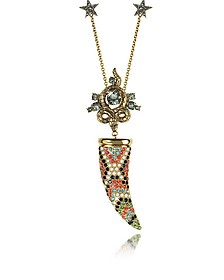 Horn Goldtone Brass Necklace w/Crystals - Roberto Cavalli