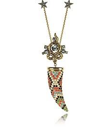 Horn Goldtone Brass Necklace w/Crystals - Roberto Cavalli