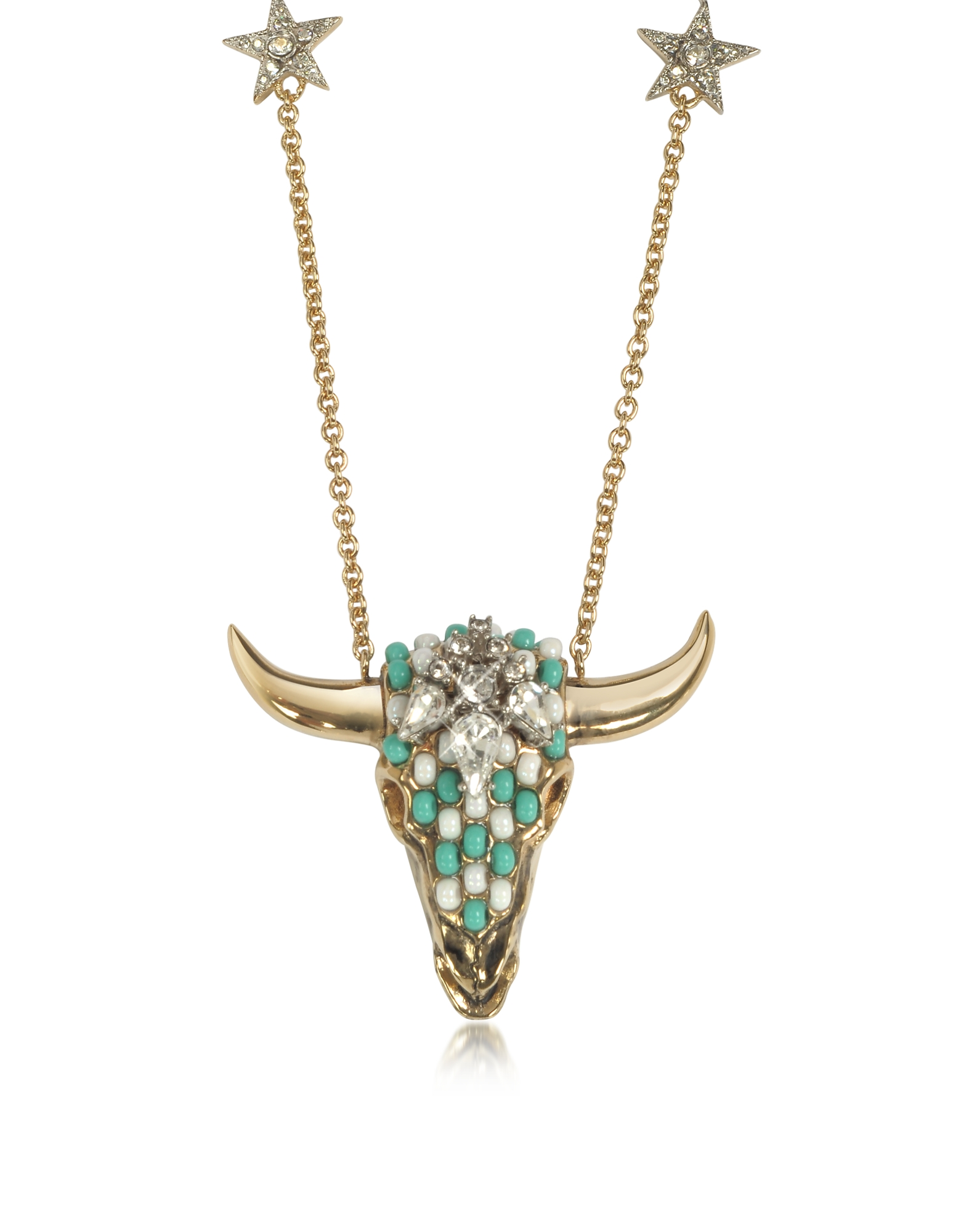 Roberto Cavalli Necklaces, Goldtone Brass Long Necklace w/Crystals and Mint Green Beads