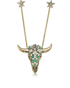 Goldtone Brass Long Necklace w/Crystals and Mint Green Beads - Roberto Cavalli