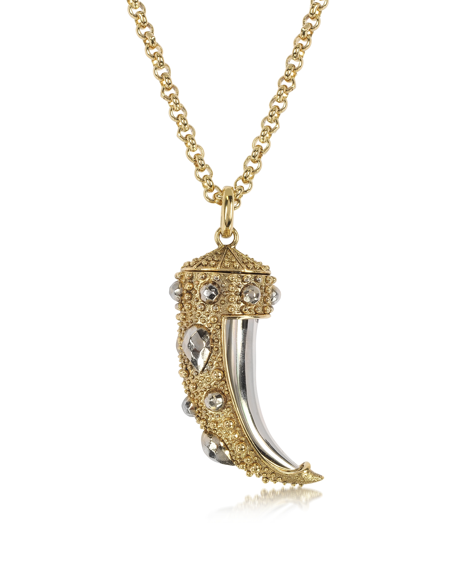 Roberto Cavalli Necklaces, Horn Two-Tone Metal Necklace