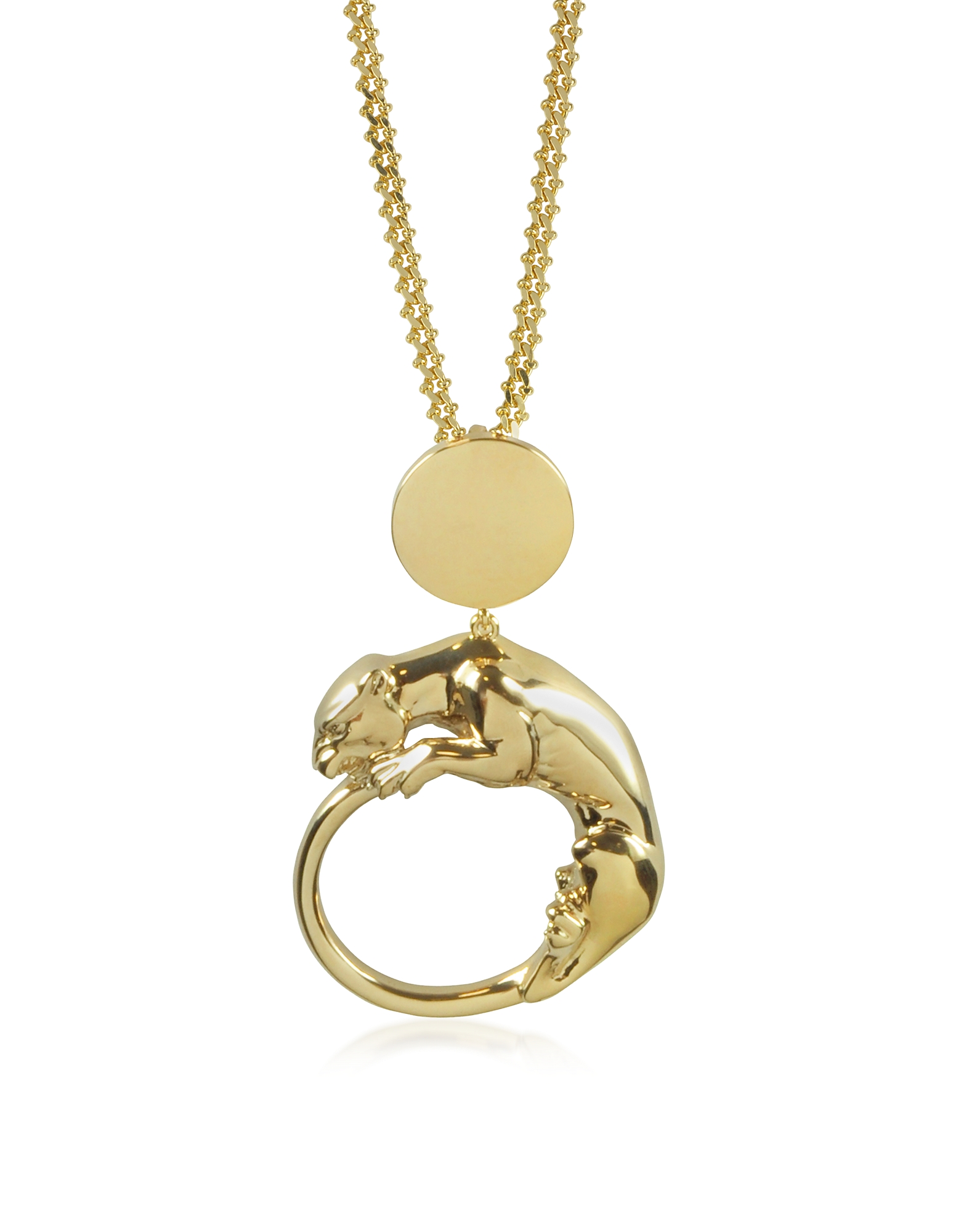 Roberto Cavalli Necklaces, Panther Light Gold Tone Metal Pendant