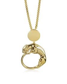 Panther Light Gold Tone Metal Pendant - Roberto Cavalli
