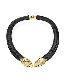 Serpent Halskette aus Leder in schwarz und gold - Roberto Cavalli