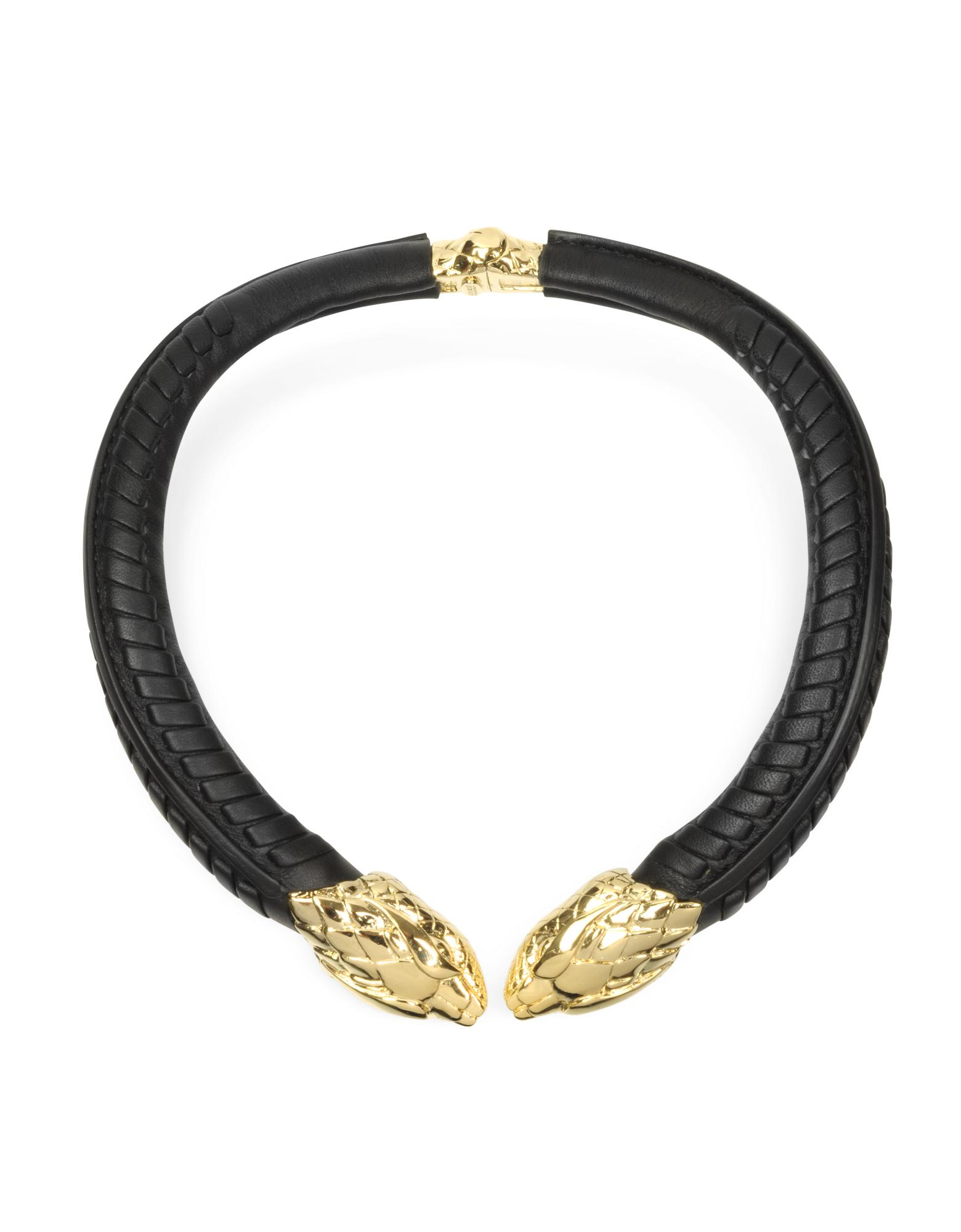 Serpent Black Leather and Gold Tone Metal Necklace - Roberto Cavalli