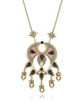 Gold-tone and Enamel w/Multicolor Crystals Long Necklace