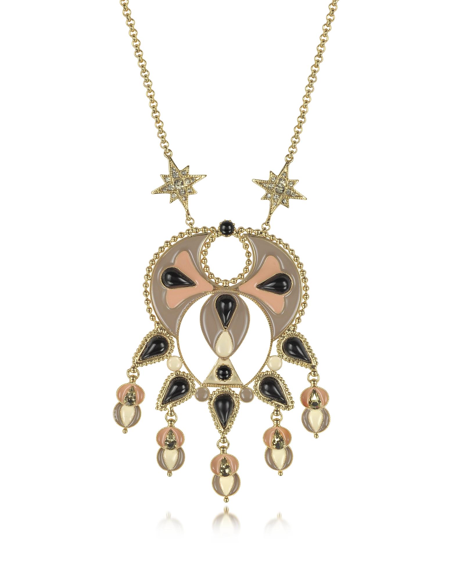Фото Ожерелье из Золотистого Металла и Эмали с Разноцветными Кристаллами. Купить с доставкой
